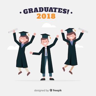 Studenti con cappelli di laurea