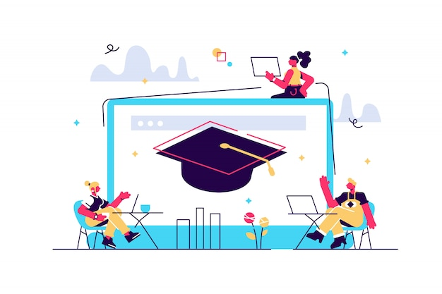 Studenti con laptop che studiano e enorme laptop con tappo di laurea. corsi online gratuiti, corsi di certificazione online, concetto di scuola di business online. pinkish coral bluevector illustrazione isolata
