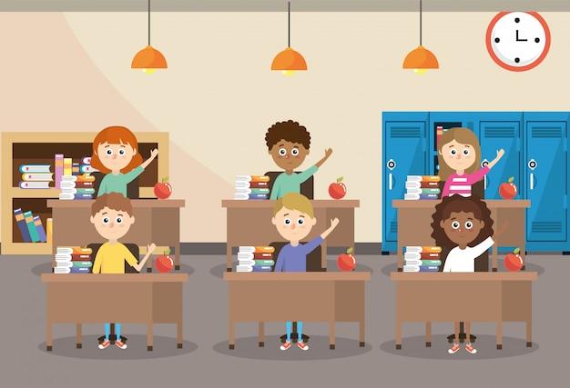 Studenti di educazione nella scrivania con libreria e armadietti