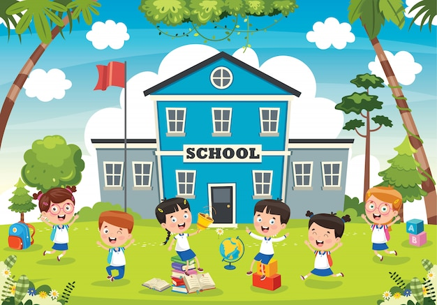 Studenti divertenti e edificio scolastico