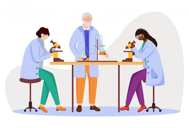 Studenti e professore di scienza nell'illustrazione piana dei cappotti del laboratorio. studiare medicina, chimica. l'esperimento di conduzione con il microscopio ha isolato i personaggi dei cartoni animati su fondo bianco