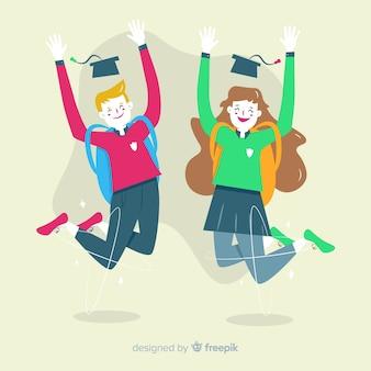 Studenti felici saltando con design piatto