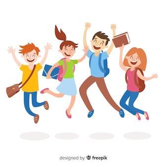 Studenti felici saltando