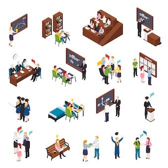 Studenti universitari che frequentano seminari di lezioni impegnati con progetti in biblioteca che si laureano insieme di elementi isometrici