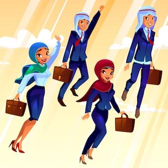 Studenti universitari con borse che volano nel cielo, concetto di educazione dei giovani.