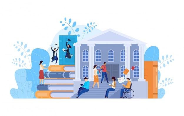 Studenti universitari, concetto di istruzione universitaria, illustrazione della gente