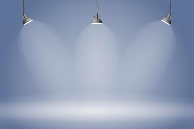 Studio blu scuro del fondo delle luci del punto