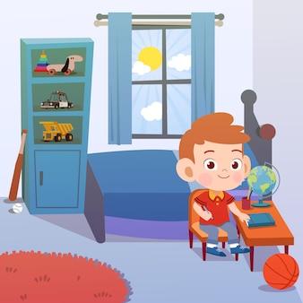 Studio del bambino nell'illustrazione di vettore della stanza
