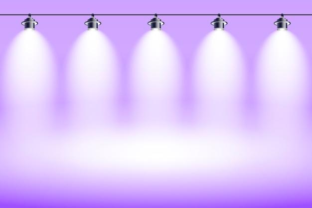 Studio della viola del fondo delle luci spot