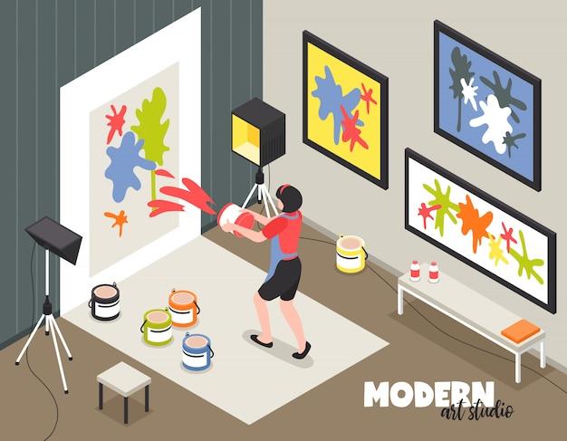Studio di arte moderna con l'artista della donna durante il lavoro creativo con le pitture e l'illustrazione isometrica di vettore della tela
