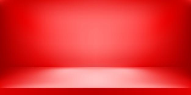 Studio di colore rosso vuoto, sfondo della stanza, display del prodotto con spazio di copia per la visualizzazione del contenuto. illustrazione