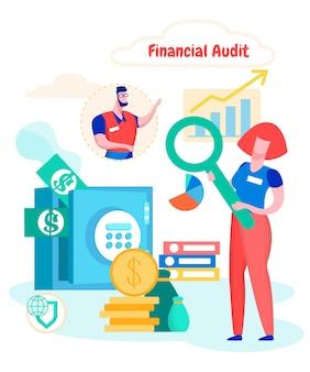 Studio di verifica finanziaria della società di cassa della donna