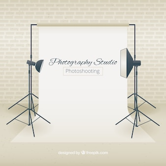 Studio fotografico con faretti