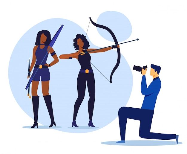 Studio fotografico, illustrazione vettoriale piatto di photoshoot