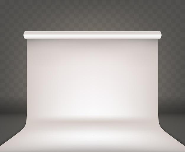 Studio fotografico interno bianco vuoto sfondo bianco