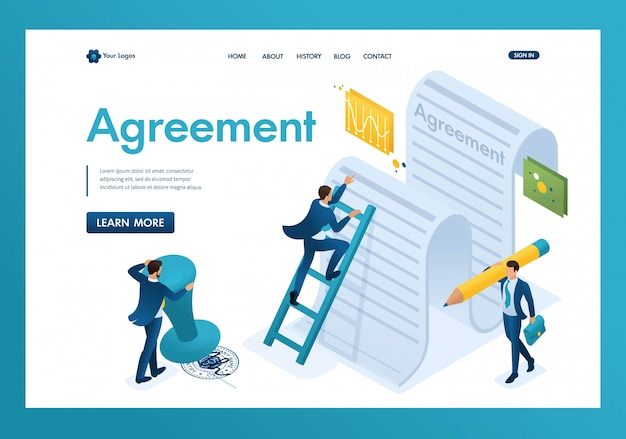 Studio isometrico del testo dell'accordo da parte dei dipendenti dell'azienda e firma della landing page del contratto