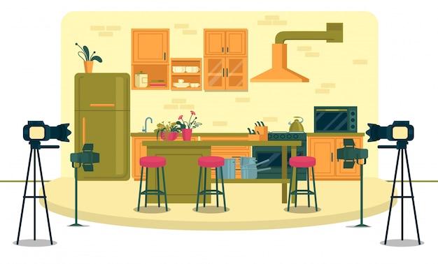 Studio televisivo per la registrazione di spettacoli di cucina.