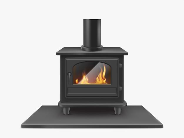 Stufa a legna, camino in ferro con il fuoco all'interno isolato, sistema di riscaldamento tradizionale all'interno in stile moderno. attrezzatura domestica illustrazione realistica di vettore 3d, clipart