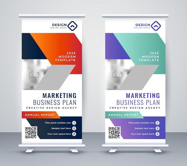 Stylisj rollup banner design in stile geometrico