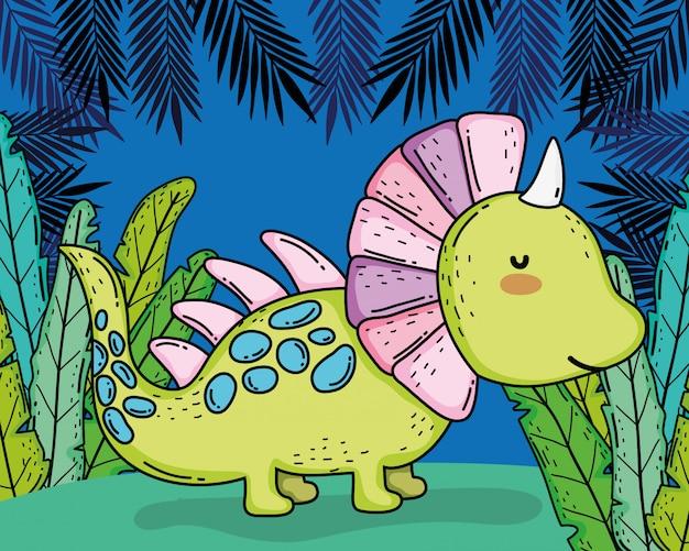 Styracosaurus animale preistorico dino con piante