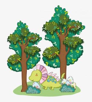 Styracosaurus con uova di dino nei cespugli e alberi