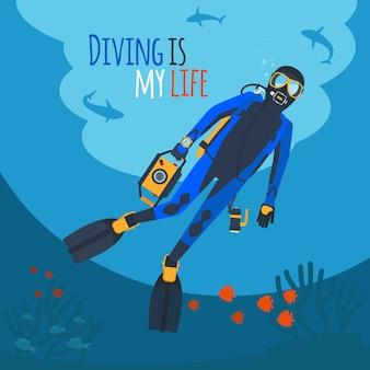 Subacqueo sott'acqua