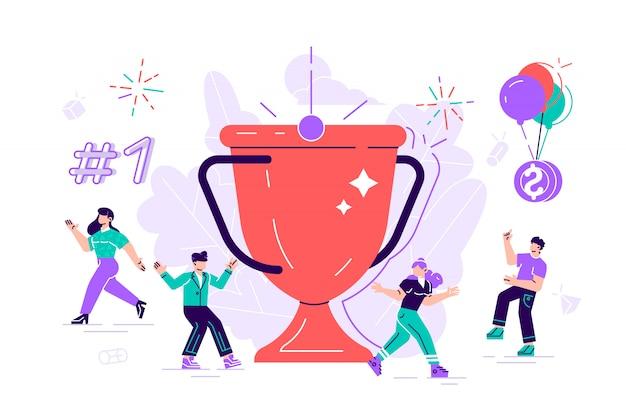 Successo del team aziendale, concetto di successo. personaggi di persone piatte con premio, coppa d'oro. impiegati festeggia con grande trofeo. illustrazione di stile moderno design piatto per pagina web, carte