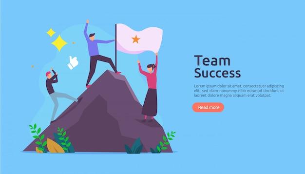 Successo della squadra con la bandiera vincente sulla cima di una montagna.