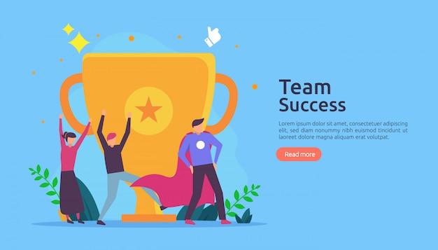 Successo della squadra con la coppa del trofeo. concetto di lavoro di squadra vincente.