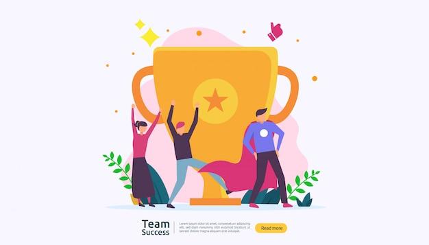 Successo della squadra con la coppa del trofeo.