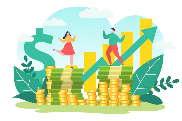 Successo di affari, finanza redditizia di investimento dei soldi, illustrazione. carattere di donna uomo al grafico del reddito di crescita
