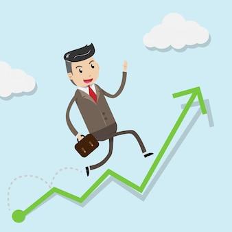 Successo di crescita finanziaria con uomo d'affari felice