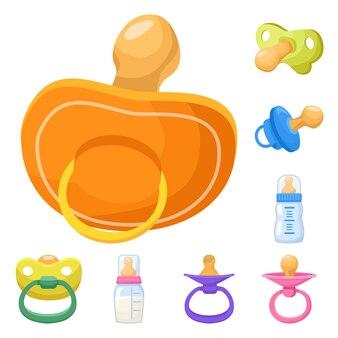 Succhietto di elementi cartoon per bambini. impostare elementi di succhietto in lattice. accessorio illustrazione isolato per neonato.
