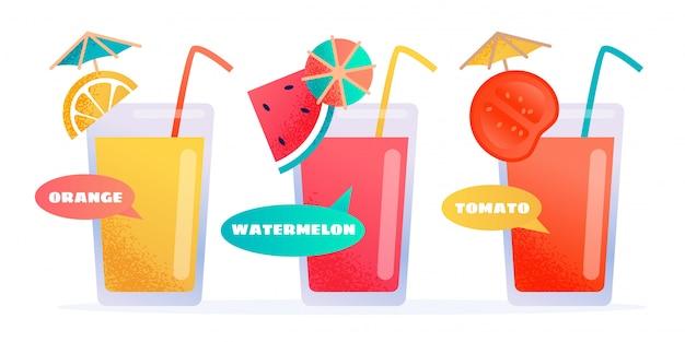 Succo di diversi tipi freschi nel set di bicchieri di cartone animato