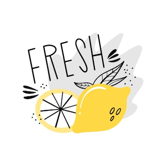 Succo fresco, limonata. modello di etichetta vettoriale per drink. succoso limone nello stile di doodle, piatto.