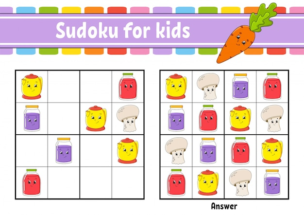 Sudoku per bambini. foglio di lavoro per lo sviluppo dell'istruzione.