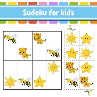 Sudoku per bambini, foglio di lavoro per lo sviluppo dell'istruzione.