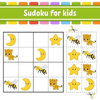 Sudoku per bambini, foglio di lavoro per lo sviluppo dell'istruzione,