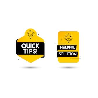 Suggerimenti rapidi, illustrazione completa di progettazione del modello di vettore dell'etichetta del testo della soluzione di aiuto