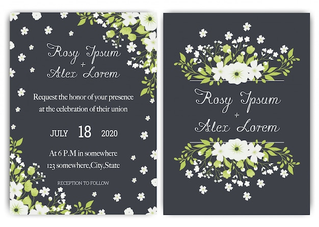 Suite di carte invito a nozze con fiori margherita.