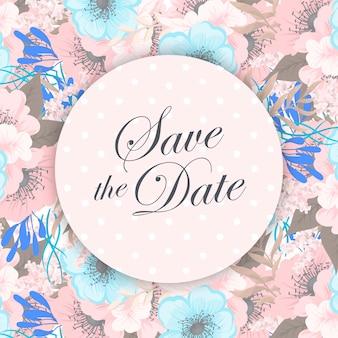 Suite di carte invito a nozze con fiori. modello. illustrazione vettoriale