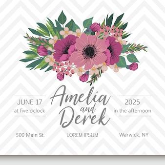 Suite di carte invito a nozze con fiori
