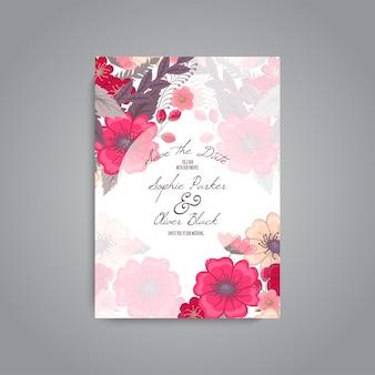 Suite di carte invito di nozze con modelli di fiori