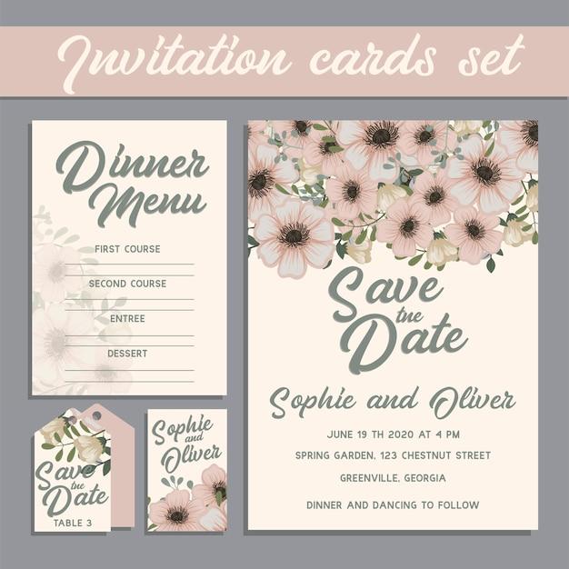 Suite di carte invito di nozze con modelli di fiori.