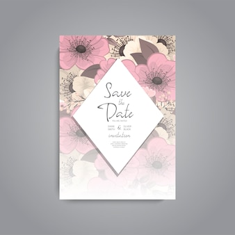 Suite di carte invito di nozze con modello di fiore