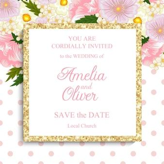 Suite di inviti di nozze con fiori