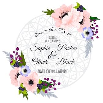 Suite di invito di nozze con fiore illustrazioni di templates.vector