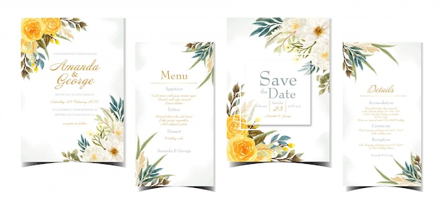 Suite floreale di invito a nozze con bellissimi fiori gialli e bianchi