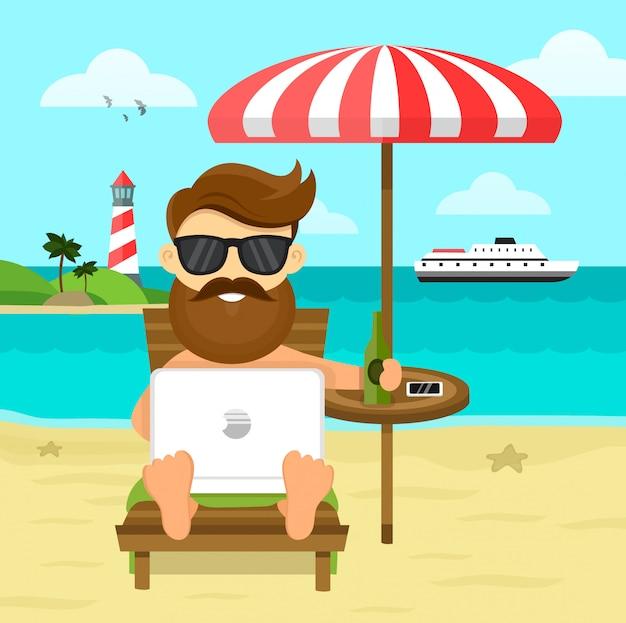 Sulla spiaggia freelance work & rest illustrazione piatta. uomo d'affari a distanza indipendente nel posto di lavoro dell'uomo d'affari in suit