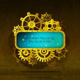 Sullo sfondo d'oro di ingranaggi in stile vintage